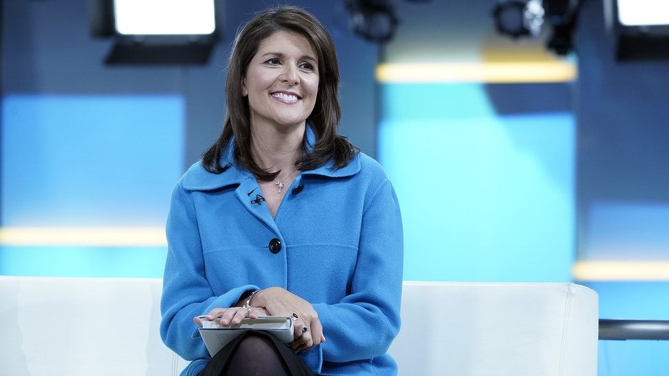 "NEW YORK, NEW YORK - NOVEMBER 12: (EXCLUSIVE COVERAGE) Former UN Ambassador Nikki Haley visits ""Fox & Friends"" at Fox News Channel Studios on November 12, 2019 in New York City."