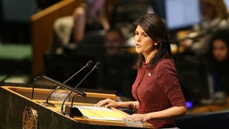 Nikki Haley, United States Ambassador to the United Nations, speaks on the floor of the General Assembly on December 21, 2017 in New York City. A vote is scheduled at the United Nations General Assembly today concerning Washington's decision to recognize Jerusalem as Israel's capital and relocate its embassy there. The US, which alone vetoed a resolution put to the Security Council on the move to Jerusalem, cannot veto General Assembly motions, which require a simple majority to be adopted. The Trump administration has threatened to take action against any country that votes against the United States decision to move its embassy. (Photo by Spencer Platt/Getty Images)