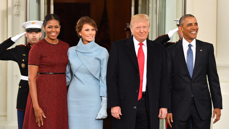 U.S. President Barack Obama, from right, U.S. President-elect Donald Trump, U.S. First Lady-elect Melania Trump, and U.S. First Lady Michelle Obama stand for a photograph outside of the White House ahead of the 58th presidential inauguration in Washington, D.C., U.S., on Friday, Jan. 20, 2017. Sunday, January 20, 2019, marks the second anniversary of U.S. President Donald Trump's inauguration. Our editors select the best archive images looking back over Trump's second year in office. Photographer: Kevin Dietsch/Pool via Bloomberg