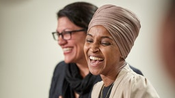 ST PAUL, MN - AUGUST 19: U.S. Reps. Ilhan Omar (D-MN) and Rashida Tlaib (D-MI) hold a news conference on August 19, 2019 in St. Paul, Minnesota. Israeli Prime Minister Benjamin Netanyahu blocked a planned trip by Omar and Tlaib to visit Israel and Palestine citing their support for the boycott, divestment, and sanctions (BDS) movement against Israel.