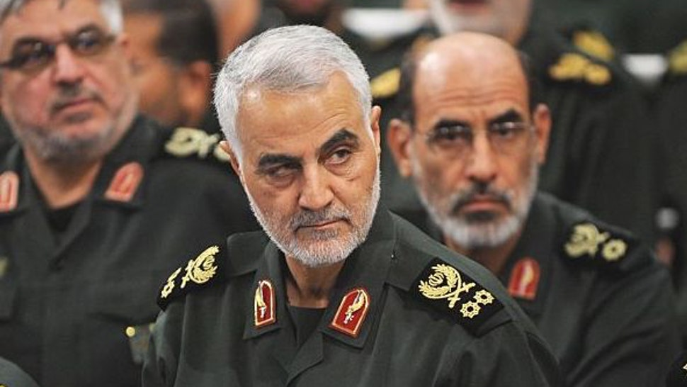 Iranian Quds Force commander Qassem Soleimani (C) attends Iranian supreme leader Ayatollah Ali Khamenei's (not seen) meeting with the Islamic Revolution Guards Corps (IRGC) in Tehran, Iran on September 18, 2016. (Photo by Pool / Press Office of Iranian Supreme Leader/Anadolu Agency/Getty Images)