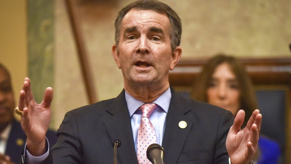 RICHMOND, VA - January 08: Governor Ralph Northam addresses a joint session of the Virginia General Assembly in Richmond, VA.