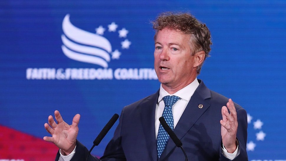 WASHINGTON, DC - JUNE 27: Sen. Rand Paul (R-KY) addresses the Faith and Freedom Coalition's Road to Majority Policy Conference at the Marriott Wardman Park Hotel June 27, 2019 in Washington, DC. Created as a bridge between conservative Tea Party movement and evangelical voters, the Faith and Freedom Coalition was founded by Christian conservative activist Ralph Reed in 2009.