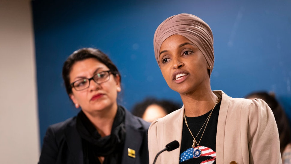 St. Paul, MN-August 19: Rep. Ilhan Omar, with Rep. Rashida Tlaib at her side, spoke at a press conference at the State Capitol. (Photo by Renee Jones Schneider/Star Tribune via Getty Images)