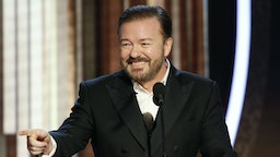 n this handout photo provided by NBCUniversal Media, LLC, host Ricky Gervais speaks onstage during the 77th Annual Golden Globe Awards at The Beverly Hilton Hotel on January 5, 2020 in Beverly Hills, California. (Photo by Paul Drinkwater/NBCUniversal Media, LLC via Getty Images)