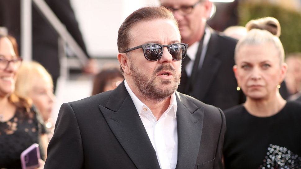BEVERLY HILLS, CALIFORNIA - JANUARY 05: 77th ANNUAL GOLDEN GLOBE AWARDS -- Pictured: (l-r) Ricky Gervais arrives to the 77th Annual Golden Globe Awards held at the Beverly Hilton Hotel on January 5, 2020.