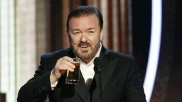 In this handout photo provided by NBCUniversal Media, LLC, host Ricky Gervais speaks onstage during the 77th Annual Golden Globe Awards at The Beverly Hilton Hotel on January 5, 2020 in Beverly Hills, California. (Photo by Paul Drinkwater/NBCUniversal Media, LLC via Getty Images)