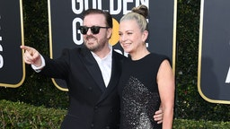 Ricky Gervais and Jane Fallon attend the 77th Annual Golden Globe Awards at The Beverly Hilton Hotel on January 05, 2020 in Beverly Hills, California. (Photo by Daniele Venturelli/WireImage)