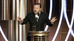 BEVERLY HILLS, CALIFORNIA - JANUARY 04: In this handout photo provided by NBCUniversal Media, LLC, host Ricky Gervais speaks onstage during the 76th Annual Golden Globe Awards at The Beverly Hilton Hotel on January 5, 2020 in Beverly Hills, California.