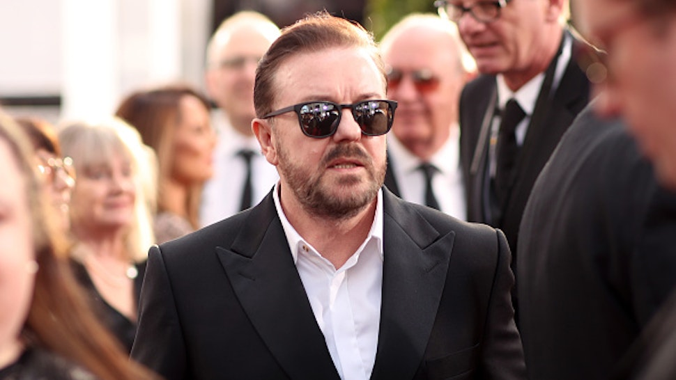 BEVERLY HILLS, CALIFORNIA - JANUARY 05: 77th ANNUAL GOLDEN GLOBE AWARDS -- Pictured: (l-r) Ricky Gervais arrives to the 77th Annual Golden Globe Awards held at the Beverly Hilton Hotel on January 5, 2020. --