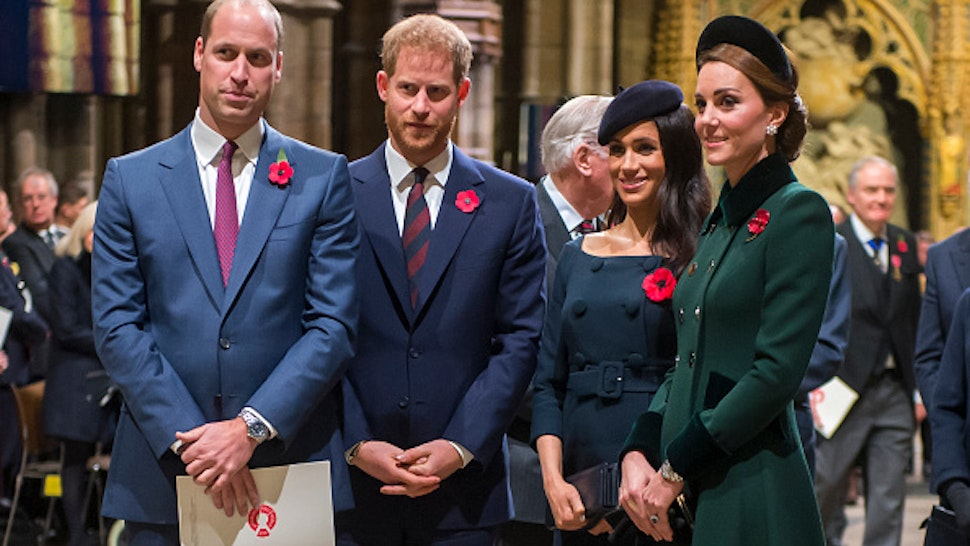 LONDON, ENGLAND - NOVEMBER 11: Prince William, Duke of Cambridge and Catherine, Duchess of Cambridge, Prince Harry, Duke of Sussex and Meghan, Duchess of Sussex attend a service marking the centenary of WW1 armistice at Westminster Abbey on November 11, 2018 in London, England. The armistice ending the First World War between the Allies and Germany was signed at Compiègne, France on eleventh hour of the eleventh day of the eleventh month - 11am on the 11th November 1918. This day is commemorated as Remembrance Day with special attention being paid for this year's centenary.