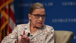 "U.S. Supreme Court Associate Justice Ruth Bader Ginsburg participates in a discussion at Georgetown University Law Center July 2, 2019 in Washington, DC. The Georgetown University Law Center's Supreme Court Institute held a discussion on ""U.S. Supreme Court Justice Ruth Bader Ginsburg: A Legacy of Gender Equality in Life and Law."" (Photo by Alex Wong/Getty Images)"