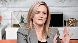 "NEW YORK, NEW YORK - NOVEMBER 25: (EXCLUSIVE COVERAGE) TV personality and comedian Samantha Bee visits BuzzFeed's AM TO DM"" to discuss the ""Full Frontal'$ Totally Unrigged Primary"" game on November 25, 2019 in New York City."