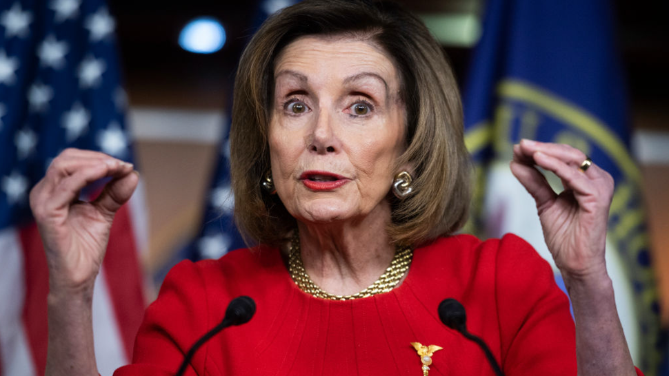 Speaker of the House Nancy Pelosi, D-Calif., conducts her weekly news conference in the Capitol Visitor Center on Thursday, December 19, 2019.