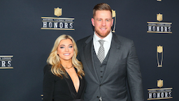 JJ Watt and girlfriend Kealia Ohai pose for Photographs on the Red Carpet at NFL Honors during Super Bowl LII week on February 3, 2018, at Northrop at the University of Minnesota in Minneapolis, MN.