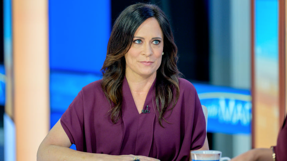 """White House Press Secretary Stephanie Grisham visits """"Mornings With Maria"""" with Anchor Maria Bartiromo at Fox Business Network Studios on September 23, 2019 in New York City."""