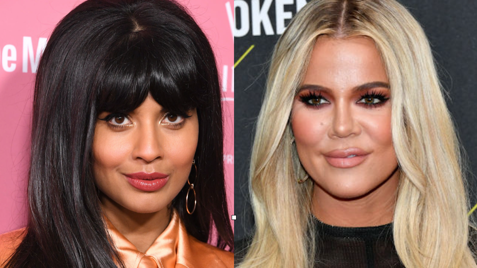 Jameela Jamil arrives at the 2019 Billboard Women In Music at Hollywood Palladium on December 12, 2019 in Los Angeles, California. //Khloé Kardashian arrives to the 2019 E! People's Choice Awards held at the Barker Hangar on November 10, 2019