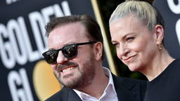 Ricky Gervais and Jane Fallon attend the 77th Annual Golden Globe Awards at The Beverly Hilton Hotel on January 05, 2020 in Beverly Hills, California.