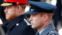 Prince Harry, Duke of Sussex and Prince William, Duke of Cambridge attend the annual Remembrance Sunday service at The Cenotaph on November 10, 2019 in London, England.