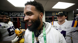 Odell Beckham Jr. celebrates in the locker room the LSU Tigers after their 42-25 win over Clemson Tigers in the College Football Playoff National Championship game at Mercedes Benz Superdome on January 13, 2020 in New Orleans, Louisiana.