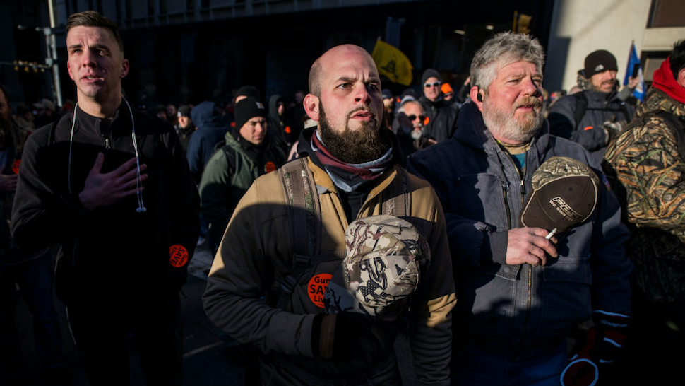 Gun rights advocates attend a rally organized by The Virginia Citizens Defense League on Capitol Square near the state capitol building on January 20, 2020 in Richmond, Virginia.