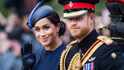 Prince Harry, Duke of Sussex and Meghan, Duchess of Sussex ride by carriage down the Mall during Trooping The Colour, the Queen's annual birthday parade, on June 08, 2019 in London, England.