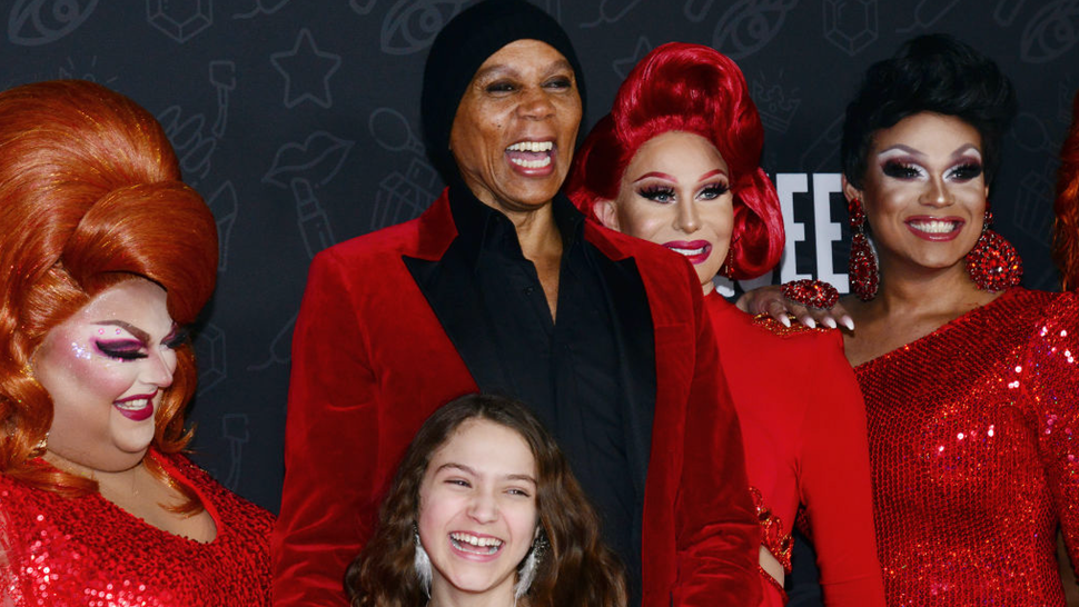 """(L-R) Ginger Minj, Izzy G., RuPaul, Trinity """"The Tuck"""" Taylor and Mariah Paris Balenciaga attend the premiere of Netflix's """"AJ and the Queen"""" Season 1 at the Egyptian Theatre on January 09, 2020 in Hollywood, California."""