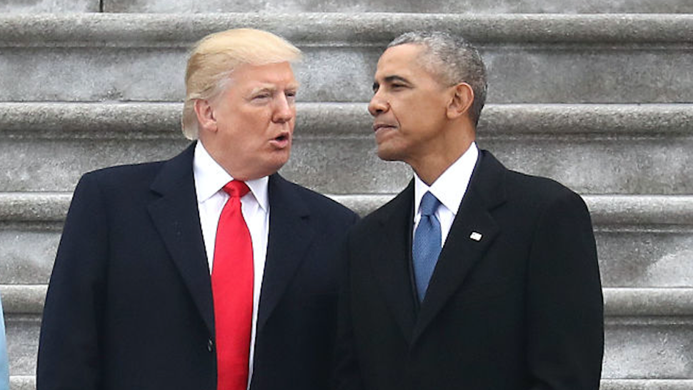 President Donald Trump and former president Barack Obama exchange words at the U.S. Capitol on January 20, 2017 in Washington, DC.