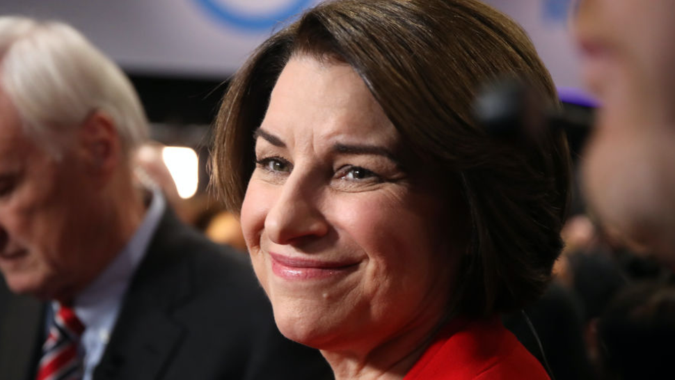 Sen. Amy Klobuchar (D-MN) prepares for television interview in spin room after the Democratic presidential primary debate at Drake University on January 14, 2020 in Des Moines, Iowa.