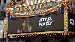 """HOLLYWOOD, CALIFORNIA - DECEMBER 19: Exterior shot of the marquee of """"Star Wars: The Rise Of Skywalker"""" at the El Capitan Theater on December 19, 2019 in Hollywood, California."""