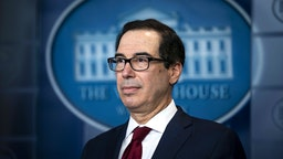 Steven Mnuchin, U.S. Treasury secretary, listens during a briefing at the White House in Washington, D.C., U.S., on Friday, Jan. 10, 2020. The Trump administration imposed new sanctions on Iran on Friday, including penalties on the Islamic Republic's metals and some senior leaders, following Tehran's attack on U.S. military bases.