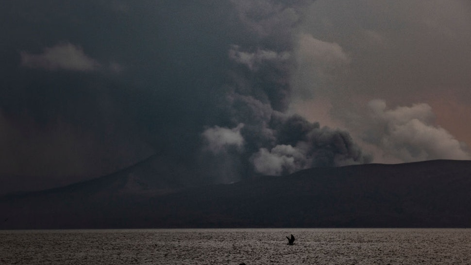 BALETE, PHILIPPINES - JANUARY 13: Taal Volcano erupts on January 13, 2020 as seen from Balete, Batangas province, Philippines. The Philippine Institute of of Volcanology and Seismology raised the alert level to four out of five, warning that a hazardous eruption could take place anytime, as Manila's international airport suspended flights and authorities began evacuating tens of thousands of people from the area.