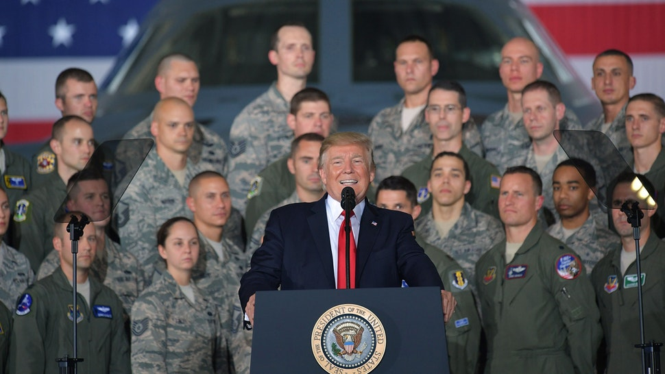 US President Donald Trump speaks to members of the military at Joint Andrews Airforce base, Maryland on September 15, 2017.