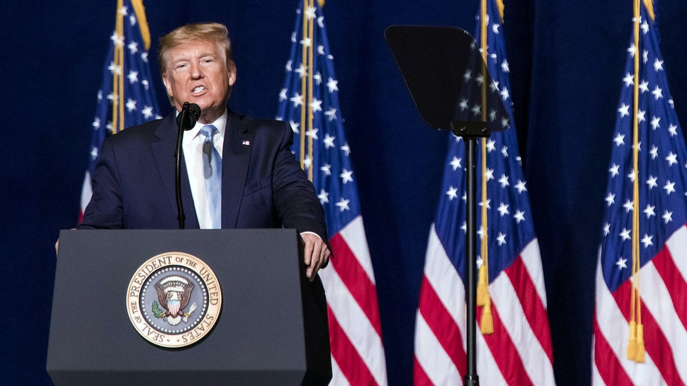 """MIAMI, FL - JANUARY, 3: President Donald Trump addresses the crowd at the King Jesus International Ministry during a """"Evangelicals for Trump"""" rally in Miami, FL on Friday, Jan. 3, 2020."""