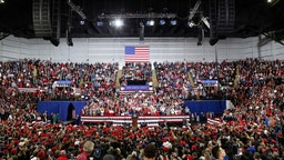 U.S. President Donald Trump speaks during a rally on January 14, 2020 at UWMilwaukee Panther Arena in Milwaukee, Wisconsin. Trump, who is the third president to face impeached, now faces an impending trial in the Senate. (Photo by Joshua Lott/Getty Images)