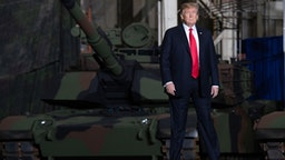 US President Donald Trump arrives to speak after touring the Lima Army Tank Plant at Joint Systems Manufacturing in Lima, Ohio, March 20, 2019.