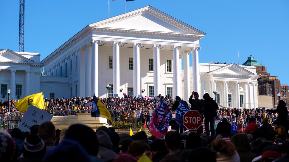 Demonstrators attend the Virginia Citizens Defense League (VCDL) Lobby Day rally at the state capitol in Richmond, Virginia, U.S., on Monday, Jan. 20, 2020. The VCDL, prominent in the state's Second Amendment rights movement, said the event will be focused on opposing sweeping gun control measures that could be enacted next week.