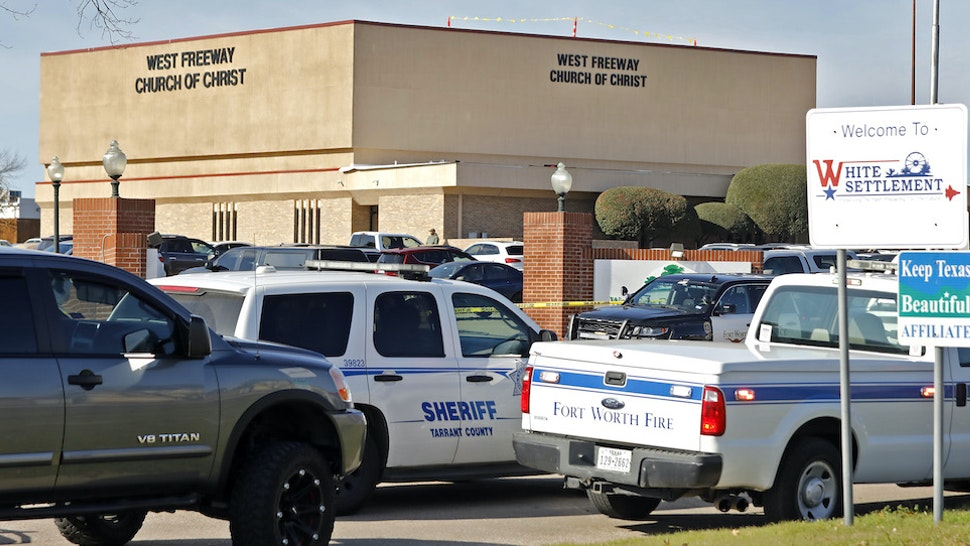West Freeway Church of Christ where a shooting took place at the morning service on December 29, 2019 in White Settlement, Texas. The shooter was killed by armed members of the church after opening fire during Sunday services and shooting two other people. (Photo by Stewart F. House/Getty Images)