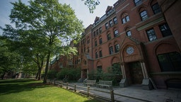 Buildings stand on the Yale University campus in New Haven, Connecticut, U.S., on Friday, June 12, 2015. Yale University is an educational institute that offers undergraduate degree programs in art, law, engineering, medicine, and nursing as well as graduate level programs.