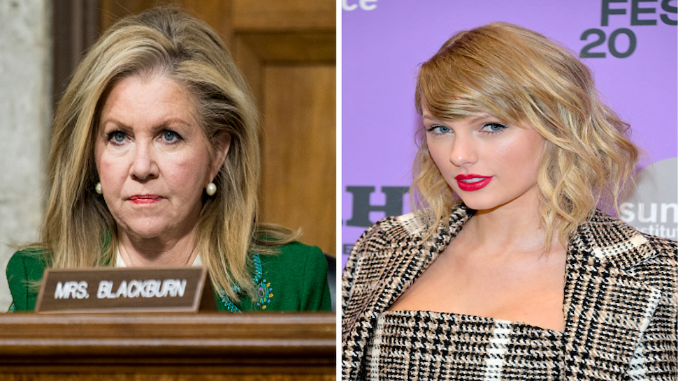 """UNITED STATES - DECEMBER 3: Sen. Marsha Blackburn, R-Tenn., listens during the Senate Armed Services Committee hearing on privatized military housing on Tuesday, Dec. 3, 2019. PARK CITY, UTAH - JANUARY 23: Taylor Swift attends the 2020 Sundance Film Festival - """"Miss Americana"""" Premiere at Eccles Center Theatre on January 23, 2020 in Park City, Utah."""