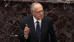 WASHINGTON, DC - JANUARY 27: In this screenshot taken from a Senate Television webcast, Legal Counsel for President Donald Trump, Alan Dershowitz speaks during impeachment proceedings against U.S. President Donald Trump in the Senate at the U.S. Capitol on January 27, 2020 in Washington, DC. Democratic House managers have concluded their opening arguments and President Trump's lawyers now continue to present their defense. (Photo by