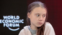 Greta Thunberg, climate activist, reacts during a panel session on the opening day of the World Economic Forum (WEF) in Davos, Switzerland, on Tuesday, Jan. 21, 2020. World leaders, influential executives, bankers and policy makers attend the 50th annual meeting of the World Economic Forum in Davos from Jan. 21 - 24. Photographer: