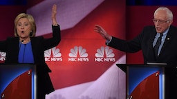 TOPSHOT - Democratic presidential candidates Hillary Clinton (L) and Bernie Sanders (R) participate in the NBC News -YouTube Democratic Candidates Debate on January 17, 2016 at the Gaillard Center in Charleston, South Carolina.. / AFP / TIMOTHY A. CLARY (Photo credit should read