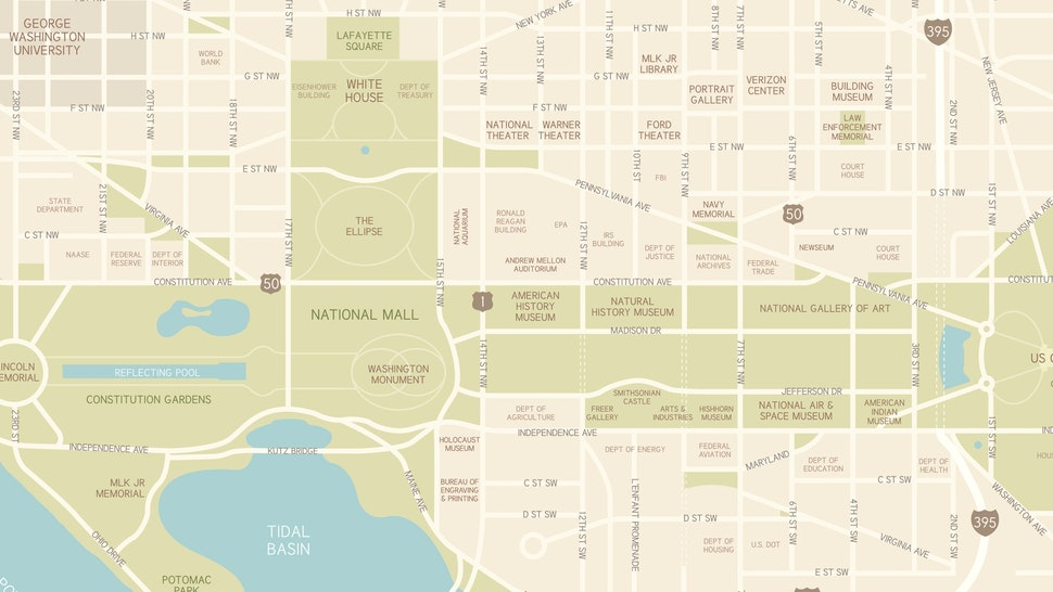 A map of downtown Washington, D.C., including streets, water and points of interest – from museums and memorials to federal buildings. All elements are on separate layers. Includes a CS5 file and an extra-large JPG.