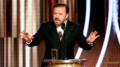host Ricky Gervais speaks onstage during the 77th Annual Golden Globe Awards at The Beverly Hilton Hotel on January 5, 2020 in Beverly Hills, California.