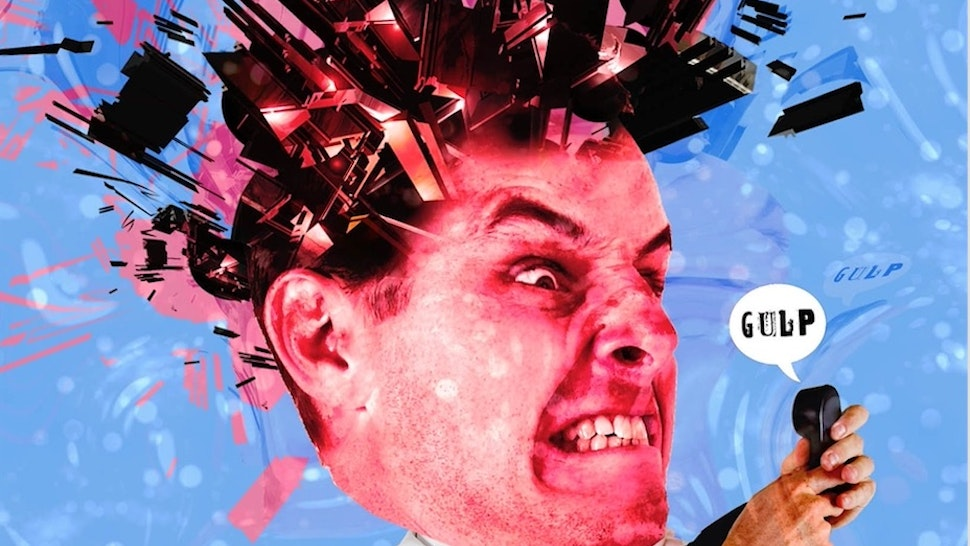 Rick Nease illustration of man being driven mad by robocalls.
