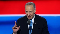 """Senator Charles """"Chuck"""" Schumer, a Democrat from New York, speaks during the Democratic National Convention (DNC) in Philadelphia, Pennsylvania, U.S., on Tuesday, July 26, 2016. Democrats began their presidential nominating convention Monday with a struggle to fully unite the party, following a dramatic day of internal squabbling and protests."""
