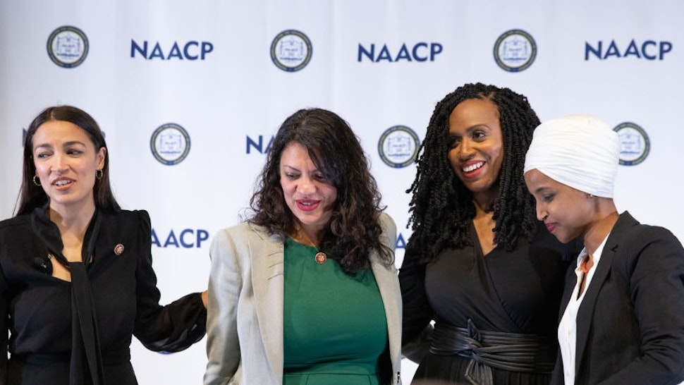 L-R: U.S. House of Representatives: Alexandria Ocasio-Cortez, Rashida Tlaib, Ayanna Pressley, and Ilhan Omar, after the NAACP town hall during the Congressional Black Caucus Foundations (CBCF) 49th Annual Legislative Conference (ALC), addressing the 2020 census, voting rights, and the upcoming presidential election. The town hall took place at the Walter E. Washington Convention Center in Washington, D.C., on Wednesday, September 11, 2019.