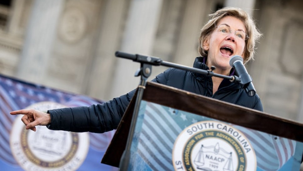 COLUMBIA, SC - JANUARY 20: Democratic presidential candidate Sen. Elizabeth Warren (D-MA) speaks to the crowd during the King Day at the Dome rally on January 20, 2020 in Columbia, South Carolina. The event, first held in 2000 in opposition to the display of the Confederate battle flag at the statehouse, attracted more than a handful Democratic presidential candidates looking for votes in the early primary state. (Photo by