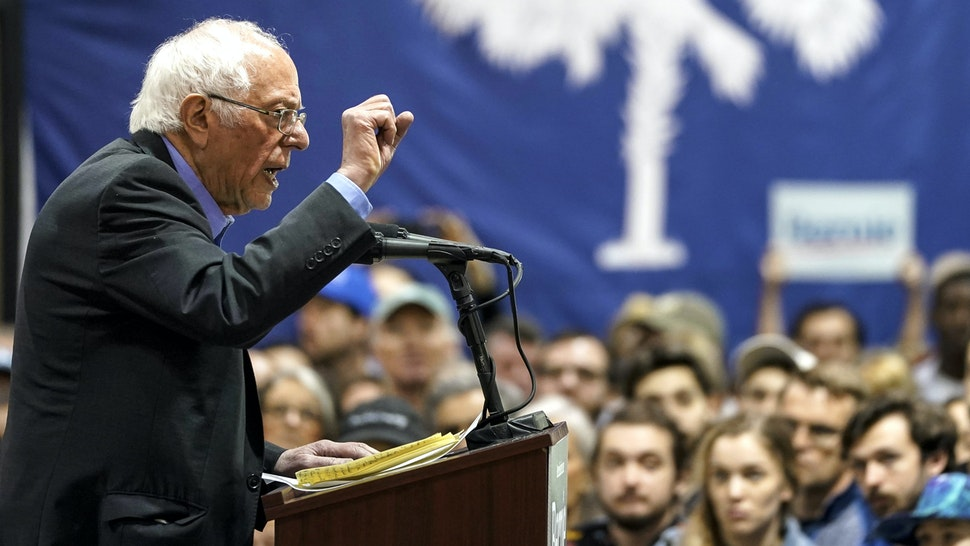 NORTH CHARLESTON, SC - FEBRUARY 26: Democratic presidential candidate Sen. Bernie Sanders (I-VT) speaks during a campaign rally at the Charleston Area Convention Center on February 26, 2020 in North Charleston, South Carolina. South Carolina holds its Democratic presidential primary on Saturday, February 29.